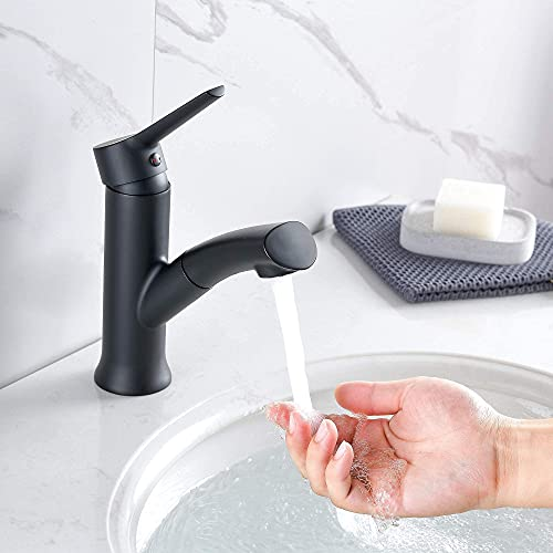 Auralum Grifo Lavabo Negro con Ducha Extraible, Grifo de Baño Monomando en Latón para Lavabo Agua Frío y Calor Disponibles