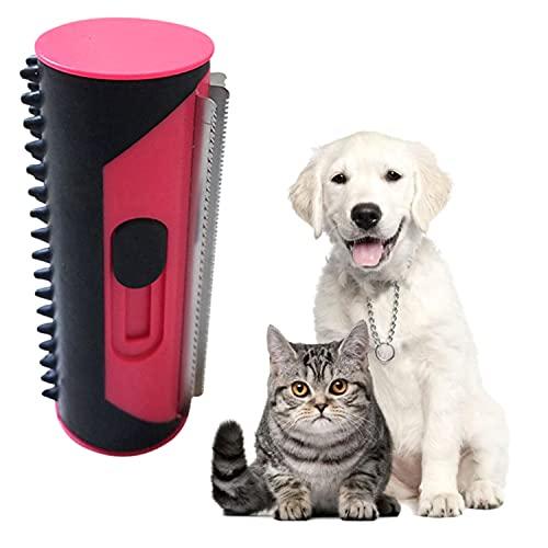 Haustier Hundebürste Katzenbürste, Haustier Bürsten, Fusselbürste für Hundehaare Katzenhaare, Enthaarungsbürste Pflege-Werkzeug für langes Haar lockige Haustiere (Rot)