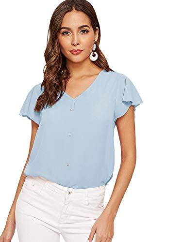 SweatyRocks Women's Loose Casual Short Sleeve V Neck Chiffon Top T-Shirt Blouse Blue Large
