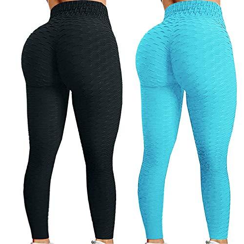 2Pcs Leggings de Jacquard de Color Sólido para Mujer Pantalones Deportivos Levante los Cadera Leggins de Cintura Alta Pantalón de Deporte Transpirables Elásticos Mallas de Yoga Reducir Vientre