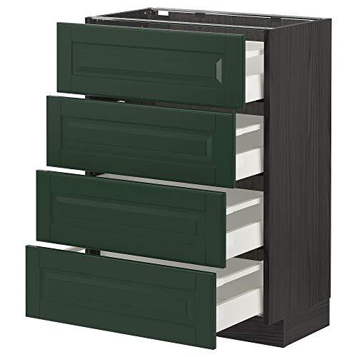 METOD/MAXIMERA 4 frnts/4 cajones 60x39,5x88 cm negro/Bodbyn verde oscuro
