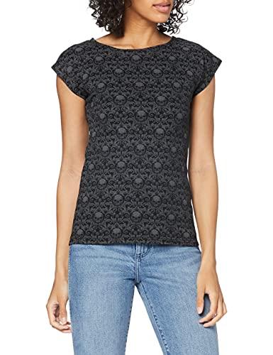 Spiral Direct Gothic Elegance-Scroll Impression Cap Sleeve Top Camiseta, Negro (Black 001), 44 (Talla del Fabricante: Large) para Mujer