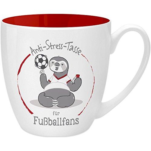 Gruss & Co 45516 Anti-Stress Tasse für Fußballfans, 45 cl, Geschenk, New Bone China, Rot, 9.5 cm