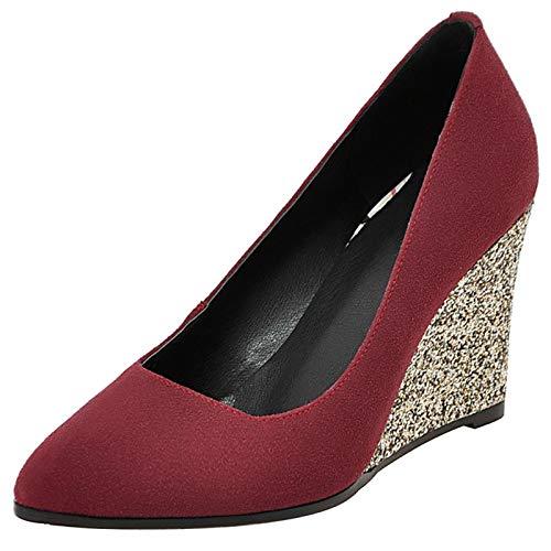 Mediffen Tacón De Cuña Pump Mujer Noche Puntiagudo Sin Cordones Vestido Zapatos Sequins Elegante Fiesta Tacón Alto Pump Vino Rojo Talla 37 EU/38Asiática