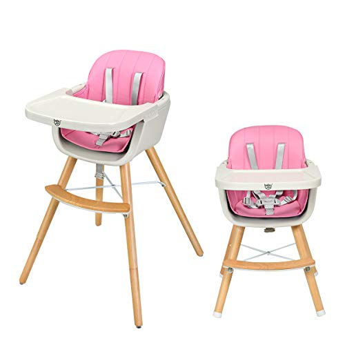 DREAMADE Babyhochstuhl Kinderhochstuhl mit Essbrett verstellbar, Kinder Kombihochstuhl Baby Holzhochstuhl mit Sicherheitsgurt, Kinderstuhl Baby Essen Stuhl 2 in 1 (Rosa)