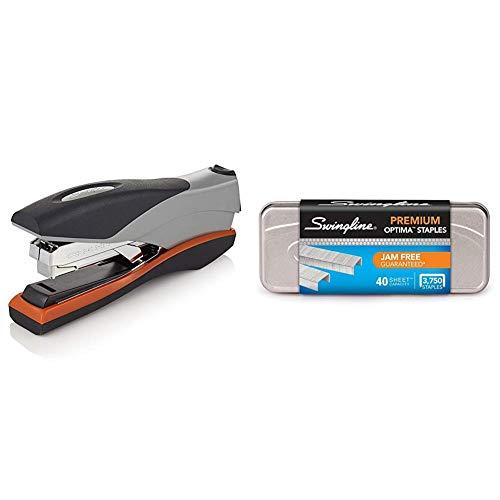 "Swingline Optima Desktop Staplers, Full Strip, 40 Sheet Capacity, Silver/Black/Orange (87845) & Staples, Optima, Premium, 1/4"" Length, Jam Free, 210/Strip, 3750/Box, 1 Box (35556)"