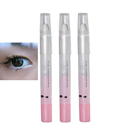 Allbestaye Lidschatten Stifte Weiß 3er Pack Set Eyeliner Bleistift Make-up Wasserfeste