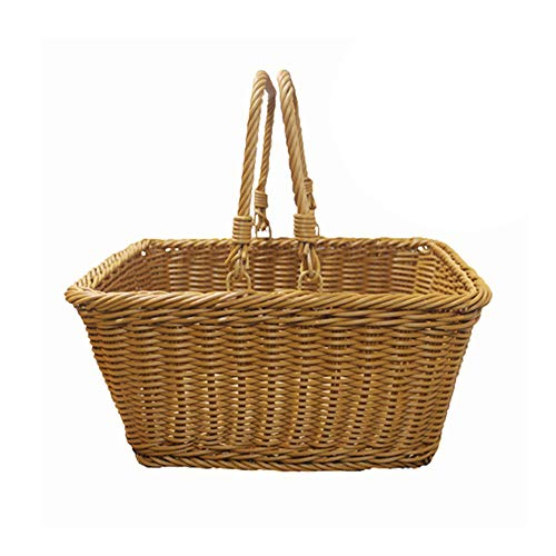MOXIN Wicker Picnic Woven Basket Rattan Shopping Bags with Large Capacity, Full Hand Made with Folding Handles, Portable Fashion Storage of Groceries Gifts Shopping,35 * 27 * 15cm