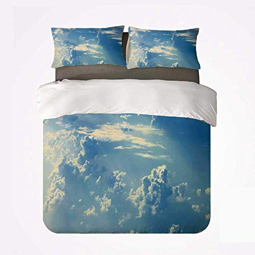 Zozun Duvet Cover Set Sky Decor Soft 3 Piece Bedding Set,Sunrise Foggy Morning Scenery View of Sky and Clouds from Airplane Picture for Bedroom