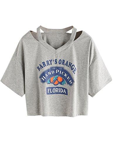 SweatyRocks Tshirt Camo Print Distressed Crop T-shirt Grey#10 S