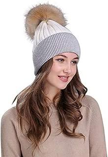 Elogoog Womens Warm Faux Fur Pom Pom Beanie Hat Soft Cable Knit Winter Skull Ski Caps