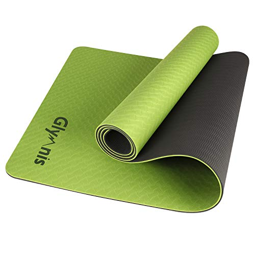 Glymnis Yogamatte Gymnastikmatte aus TPE rutschfest Übungsmatte Fitnessmatte für Yoga Pilates Fitness mit Tragegurt und Reinigungstuch 183 cm x 61 cm x 0,6 cm (Grün-Schwarz)