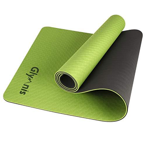Glymnis Esterilla Yoga Antideslizante Colchoneta Yoga Mat Esterilla Deporte de Material Ecológico TPE Esterilla Pilates con Correa 183mm x 61mm x 6mm Verde