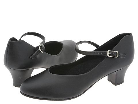 Retro Vintage Style Wide Shoes Capezio Jr. Footlight Character Black Womens Tap Shoes $41.00 AT vintagedancer.com
