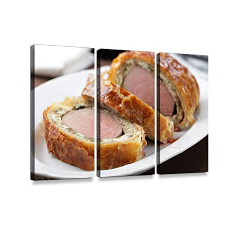 Beef Wellington3 Pieces Print On Canvas Wall Artwork Modern Photography Home Decor Unique Pattern Stretched and Framed 3 Piece