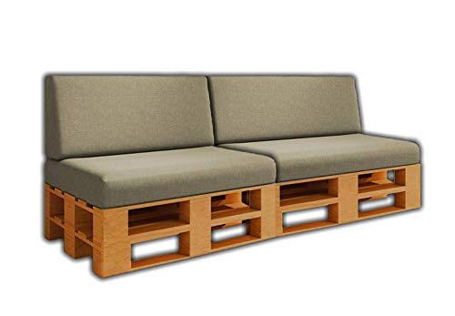 Pack Ahorro 2 Asientos + 2 Respaldos de Cojines para Sofa de palets / europalet   Desenfundable   Interior y Exterior   Color Piedra   Espuma de Alta Densidad.