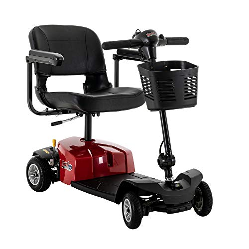 Rascal 4 Wheel Travel Scooter, Lightweight & Durable, Easy Disassembly, Red
