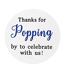 60PCS Thanks for Popping by Stickers,2″ Thanks for Celebrating with Us Stickers Round Sealing Labels for Wedding Baby Shower Birthday Party Supplies (Navy Blue)