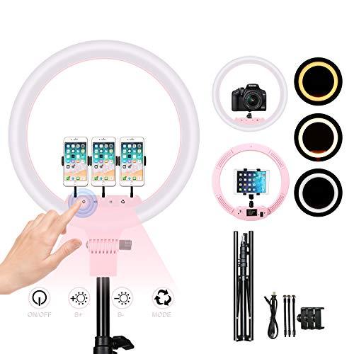 iEGrow Ring Light 18 Pollici led Selfie Light Touchscreen da Camera e Telefono Cellulare Led Anello 2700K-5500K con Treppiede e Borsa da Viaggio per Fotografia, YouTube, Video, Selfie