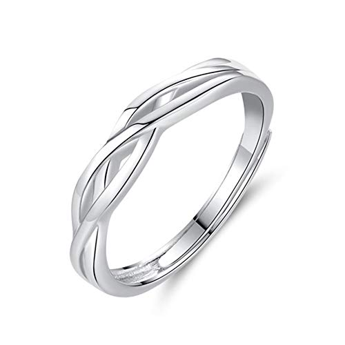 Zolkamery Wedding Rings for Men Women 925 Sterling Silver Celtic Knot Open Adjustable Size Ring Engagement Couple Partner Band Ring with Cubic Zirconia Diamond Gift for Wife Husband Girls Boys Ladies