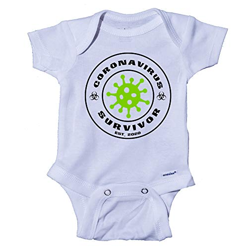 Snappy Suits Coronavirus Survivor COVID-19 Funny Baby Onesie One-Piece Bodysuit Romper T-Shirt (0-3 Months) White