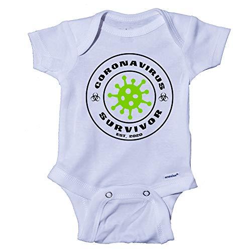 Snappy Suits Coronavirus Survivor COVID-19 Funny Baby Onesie One-Piece Bodysuit Romper T-Shirt (Preemie) White