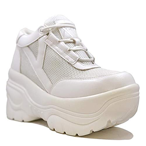YRU Matrixx White Platform Architectural Bottom Sneaker 10