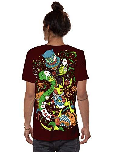 Herren T-Shirt mit Aliza Alice im Wunderland Psychodelischem Aufdruck - Bordeaux - Medium - handgefertigt durch Siebdruck Festival Tee