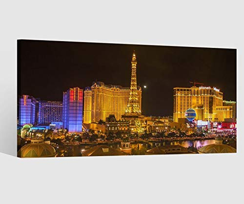 Leinwandbild Leinwand Skyline Las Vegas Stadt Nevada Kat15 USA Bild Bilder Wandbild Holz Leinwandbilder Kunstdruck vom Hersteller 9AB661, Leinwand Größe 1:60x30cm