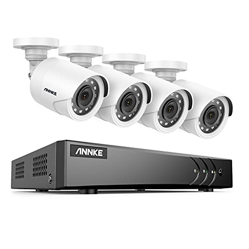 ANNKE 8CH 5MP Lite Security Camera System H.265+ DVR with 4 X 1920TVL Outdoor Wired CCTV Camera, 100 ft Night Vision, Easy Remote Access, Motion Alert, No HDD – E200