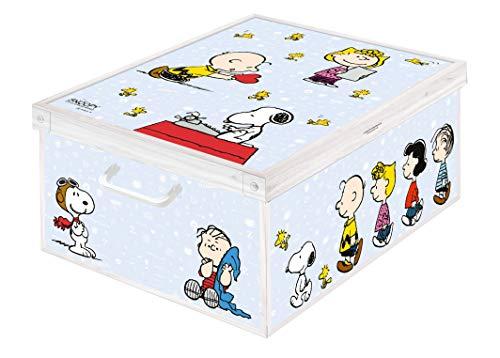 Caja de almacenamiento en cartòn Lavatelli, PEANUTS Snoopy, facil montaje, resistente, 39x50x24cm, Grande