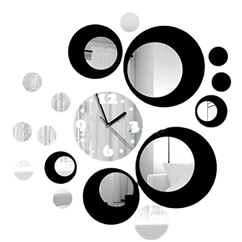 Gosear® Décoration Bricolage Acrylique Miroir Ronde Modèle Wall Sticker Horloge Home 3D