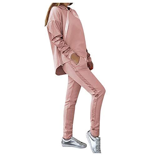 Damen Trainingsanzug Jogging-Anzug Jogginganzug Sportanzug 2 Teilig Freizeitanzug Kapuzenpullover Langarm Jogginghose Hausanzug mit Kapuze Sports Obenteile Set Outfits Rosa L