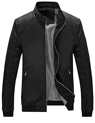 Springrain Men's Casual Stand Collar Slim Leather Sleeve Bomber Jacket (Large, Black)