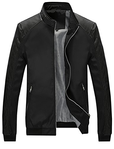 Springrain Men's Casual Stand Collar Slim Leather Sleeve Bomber Jacket (X-Small, Black)