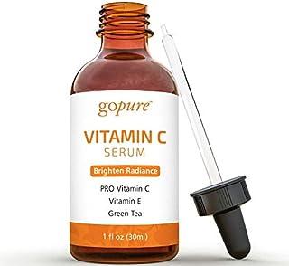 goPure Vitamin C Serum for Face with Vitamin E, Ferulic Acid, Aloe Vera - Antioxidant and Anti Aging Serum, Dark Spot Remo...