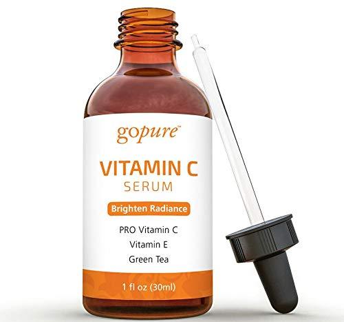 goPure Vitamin C Serum for Face with Vitamin E, Ferulic Acid, Aloe Vera - Antioxidant and Anti Aging Serum, Dark Spot Remover for Face, 1-Ounce
