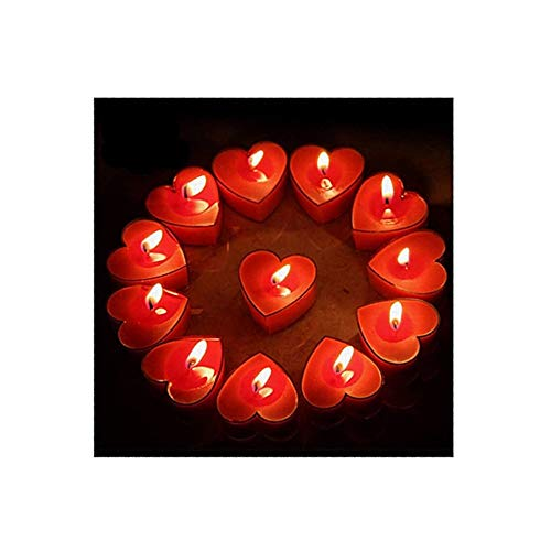 Scented Candles, 12 Pcs Sweet Romantic Love Heart Shaped Floating Candle for Home Decorations Wedding Birthday Party Celebrations (Red)