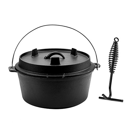 COZ 9 Quart PreSeasoned Cast Iron Dutch Oven with Lid and Lid Lifter Tool Outdoor Deep Camp Pot