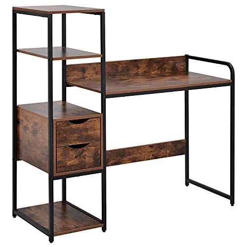 Dawns Escritorio con estante, 2 cajones, mesa de trabajo, mesa de oficina de estilo industrial, gran superficie de tablero DM y marco de metal negro, hogar (marrón)