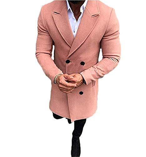 A AURA Mens Long Double Breasted Trench Coat Gentlemen Formal Wear Jacket Overcoat Outfits Pea Coats Light Orange