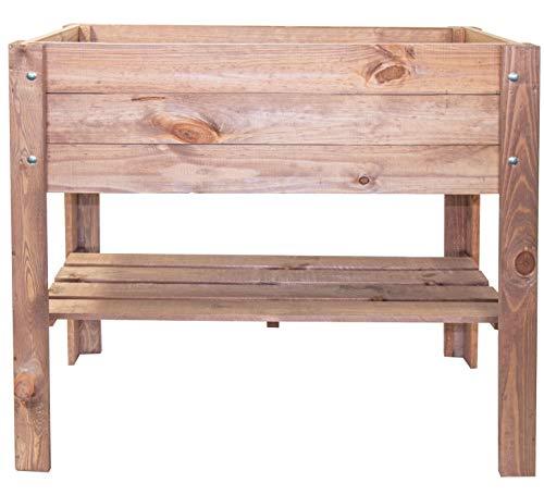 mgc24® Hochbeet - Kiefernholz Dunkelbraun rechteckig, für Garten/Terrasse/Balkon - 80 x 40 x 78 cm mit Ablage
