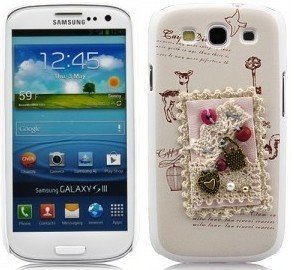 Terminal Protective Cover Case Cover Shell Case Samsung i9300 Galaxy S3 3D chic et élégant femmes fille féminin Handyhülle main Carpe Diem coeur