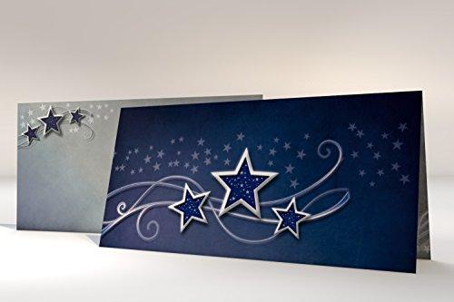 Biglietti di auguri tradizionali natalizi, stampati, con buste, 'Simplyy Stars', 10 biglietti + 10 buste, grammatura 240 g