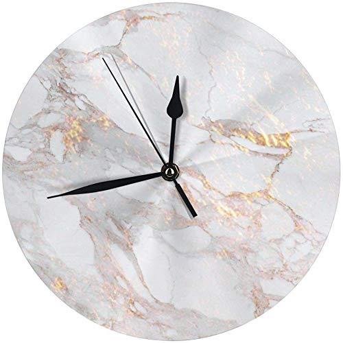 angwenkuanku Wanduhr, elegant, goldfarbenes Marmor, rund, für Zuhause, Büro, Schule, dekorativ, 24,9 cm, batteriebetrieben