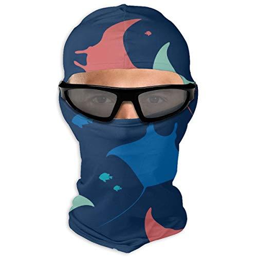 N/Een Full Face Masker Behang Met Zee Dieren Op Blauwe Achtergrond Hood Zonnebrandmasker Dubbele Laag Koud Voor Mannen En Vrouwen