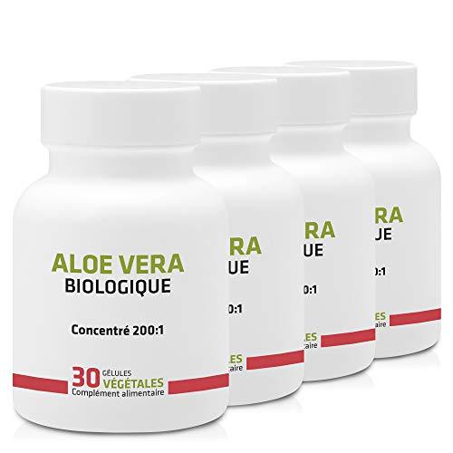 ALOE VERA BIO EN GÉLULES ◉ PACK 3+1 GRATUIT ◉ 250 mg / 120 gélules ◉ Digestion, Immunitaire ◉ Garantie Satisfait ou Remboursé ◉ Fabriqué en France