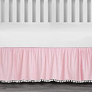 crib bedding and baby bedding tillyou ruffled crib skirt with pompoms, microfiber nursery crib toddler bedding skirts for baby boys girls, 14'' drop, pink