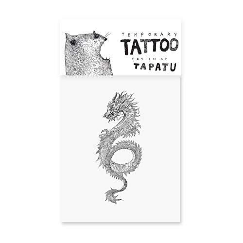 Tattoo mit Drache - Temporäre Tattoos - Aufkleber Blätter für Tätowierung - Qualität Body Sticker in Schwarz - Wasserdicht Körperkunst für Erwachsene & Kinder, Festival, Halloween, Party