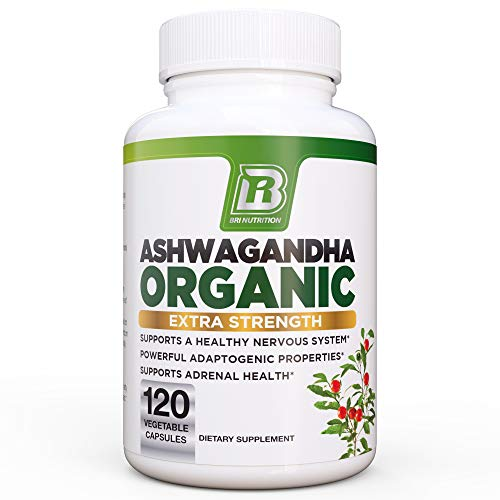 BRI Nutrition Organic Ashwagandha - Supports Healthy Mood, Energy Levels & Calm State of Mind - 1400mg Per Service (120 Count)